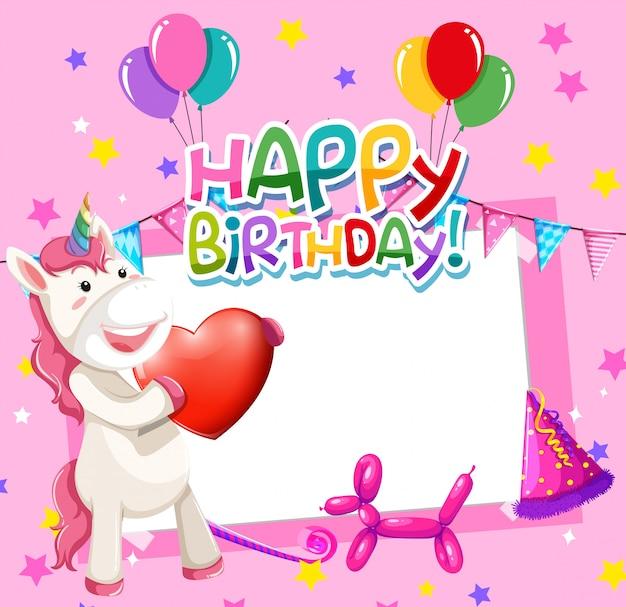 Unicorno su cornice di compleanno Vettore gratuito