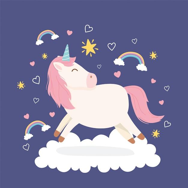 Unicorno su nuvola arcobaleni stelle cuori fantasia magica cartone animato animale carino Vettore Premium