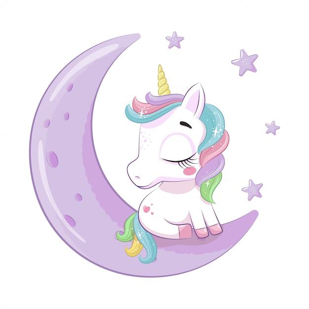 Unicorno sveglio del bambino che si siede sulla luna. illustrazione per baby shower, biglietto di auguri, invito a una festa, stampa di t-shirt vestiti di moda. Vettore Premium