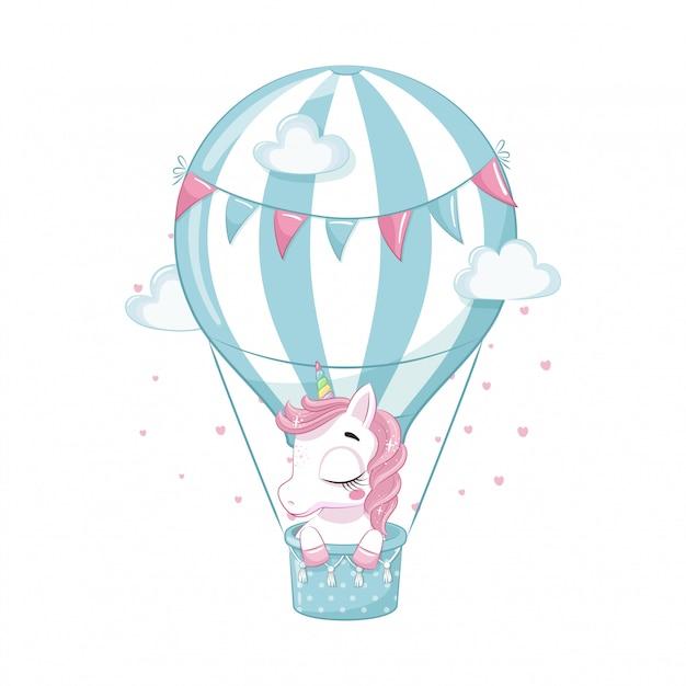 Unicorno sveglio del bambino su una mongolfiera. illustrazione per baby shower, biglietto di auguri, invito a una festa, stampa di t-shirt vestiti di moda. Vettore Premium