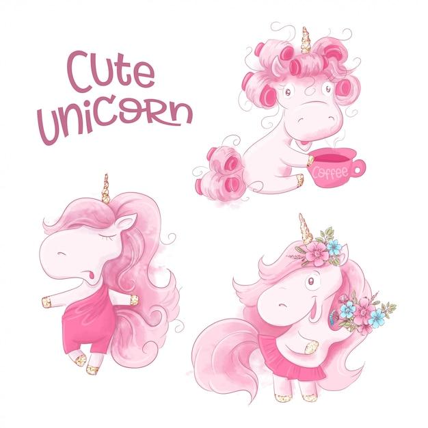 Unicorno sveglio del fumetto su una priorità bassa dell'acquerello Vettore Premium