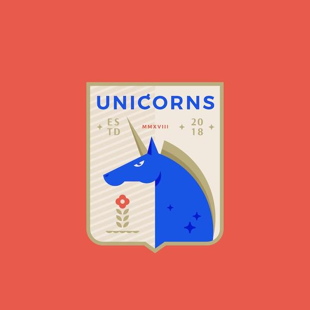 Unicorns medeival sports team emblem abstract sign, simbolo o logo template con cavallo cornuto in uno scudo. Vettore Premium