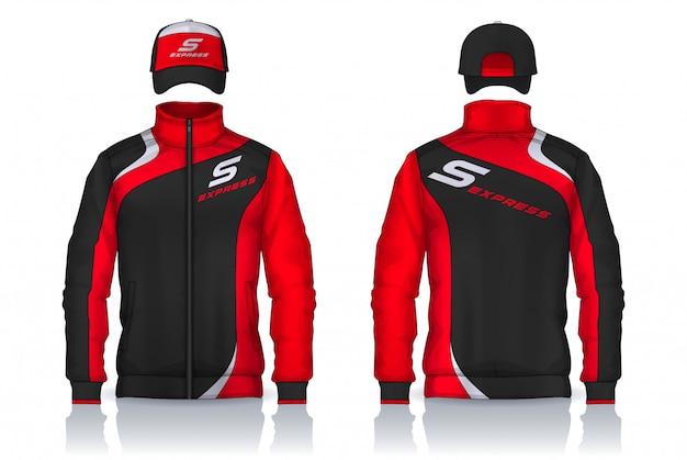 Uniforme di consegna, design di modelli di giacca e berretto, camicie da lavoro aziendali. Vettore Premium