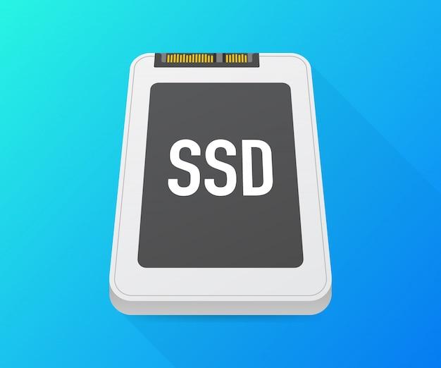 Unità a stato solido, poligono ssd, dispositivo del computer, disco rigido. illustrazione vettoriale Vettore Premium