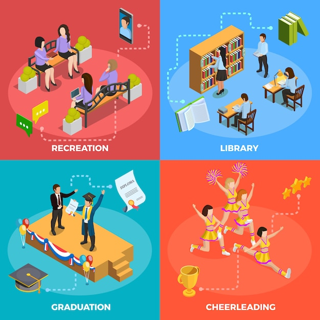 University people 4 isometric icons square Vettore gratuito