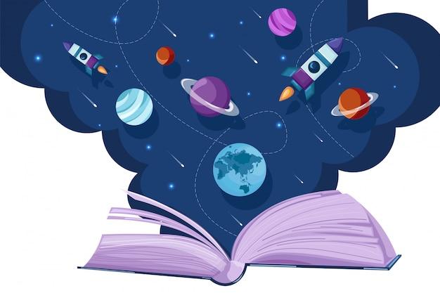 Universo del libro aperto che legge stile piano di fantasia. concetti di lettura dell'educazione alla creatività Vettore Premium