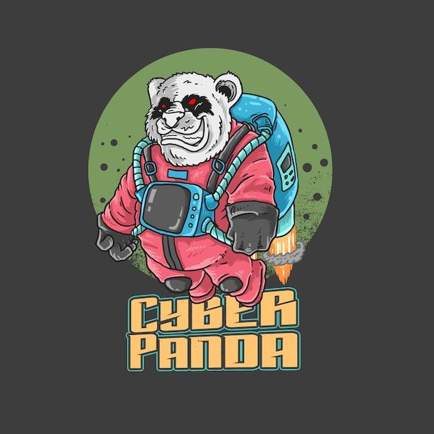 Universo di astronauta panda Vettore Premium
