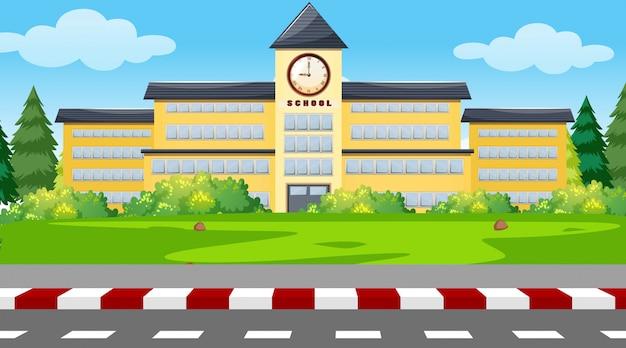 Uno sfondo di edificio scolastico Vettore gratuito