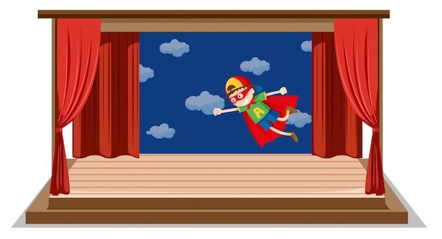 Uno spettacolo teatrale per ragazzi sul palco Vettore gratuito