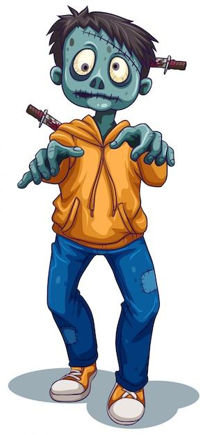 Uno zombi maschio spaventoso Vettore gratuito