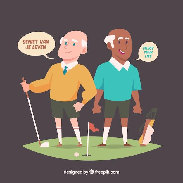 Uomini anziani che parlano lingue diverse con design piatto Vettore gratuito