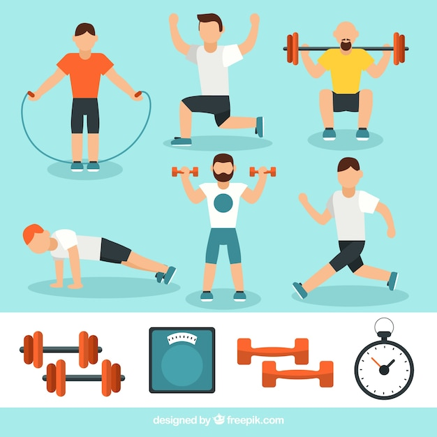 Uomini attivi facendo diversi esercizi fisici Vettore gratuito