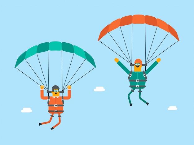 Uomini bianchi caucasici che volano con un paracadute. Vettore Premium