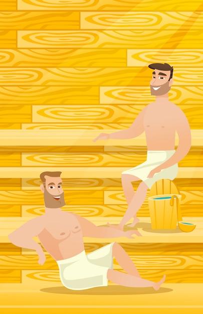 Uomini caucasici che si rilassano nella sauna. Vettore Premium