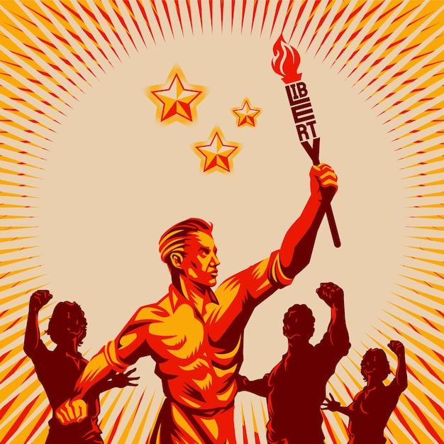 Uomini che alzano il pugno che tiene liberty torch vector illustration Vettore Premium