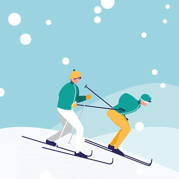 Uomini che praticano lo sci sul personaggio di avatar di ghiaccio Vettore Premium