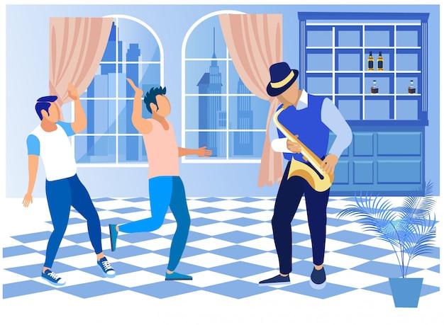 Uomini che riposano e ballano sotto la musica del sassofono Vettore Premium