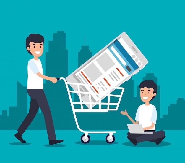Uomini con tecnologia shopping car e smartphone Vettore gratuito