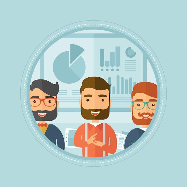Uomini d'affari che applaudono alla presentazione. Vettore Premium