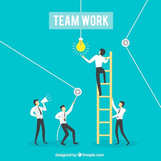 Uomini d'affari che lavorano insieme con la scaletta Vettore gratuito