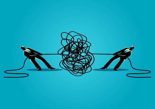 Uomini d'affari che provano a disfare corda o cavo aggrovigliato Vettore Premium