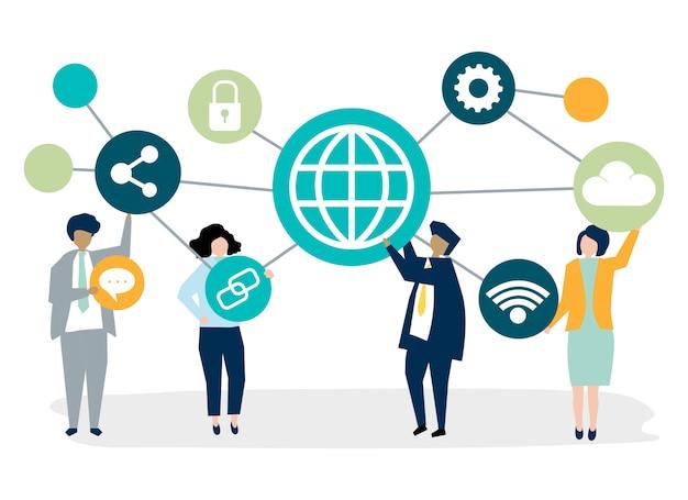 Uomini d'affari con icone di connessione Vettore gratuito