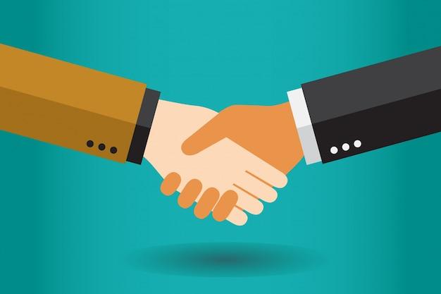 Uomini d'affari della stretta di mano che fanno un affare Vettore Premium