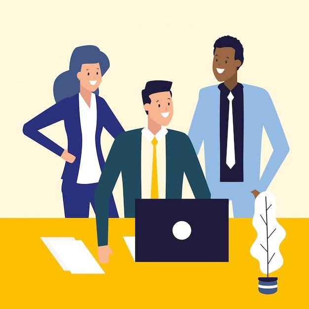 Uomini d'affari e concetto di lavoro Vettore gratuito