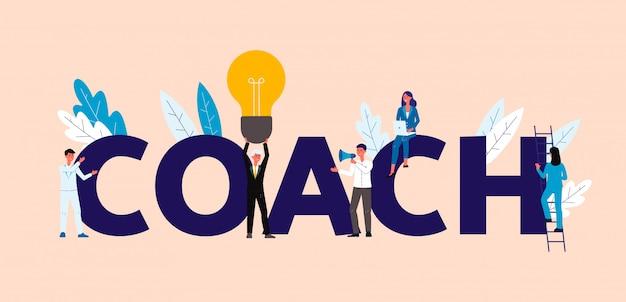 Uomini d'affari nel concetto di coaching e formazione Vettore Premium