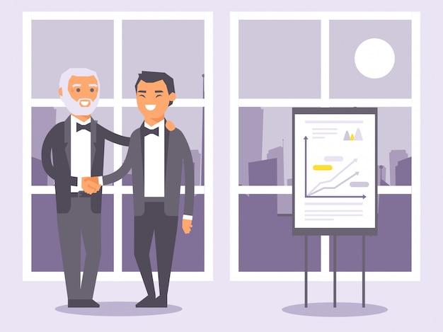 Uomini d'affari piani della gente in vestiti neri convenzionali che stringono l'illustrazione delle mani. Vettore Premium