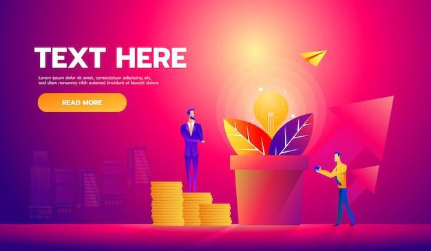 Uomini d'affari raccogliendo dollari dall'albero dei soldi Vettore Premium
