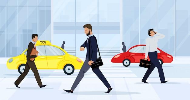 Uomini d'affari uomini e donne che camminano sulla strada. Vettore Premium