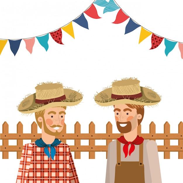 Uomini degli agricoltori che parlano con il cappello di paglia Vettore gratuito