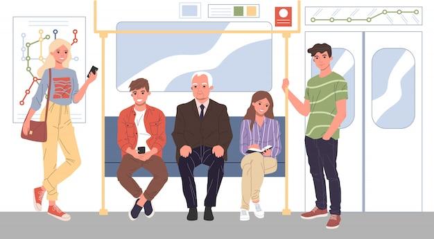 Uomini e donne in piedi in metropolitana Vettore Premium