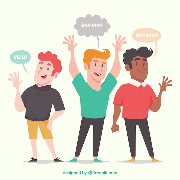Uomini felici che parlano lingue diverse con design piatto Vettore gratuito
