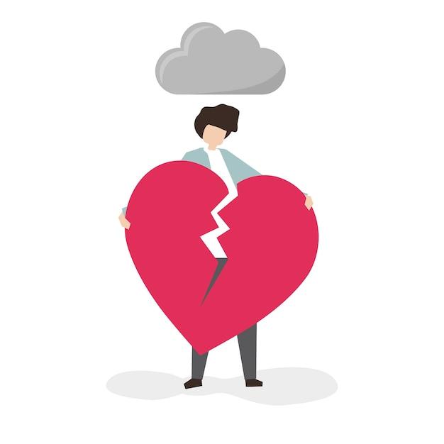 Uomo aggrappato a un cuore spezzato Vettore gratuito