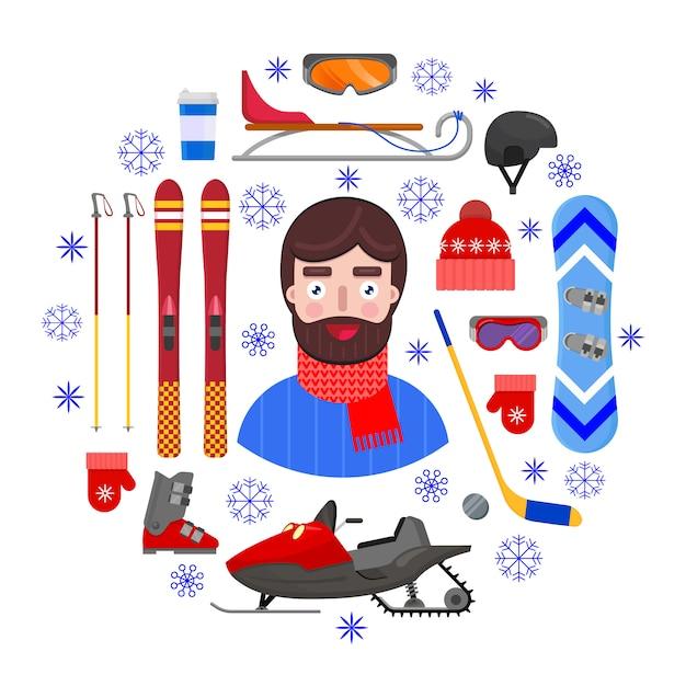 Uomo allegro e felice in abiti invernali e sport attrezzature invernali su sfondo bianco. illustrazione di vettore. Vettore Premium