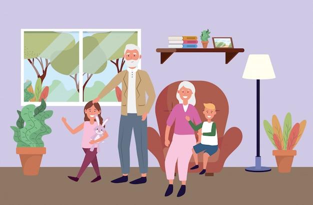 Uomo anziano e donna con bambini e piante Vettore gratuito