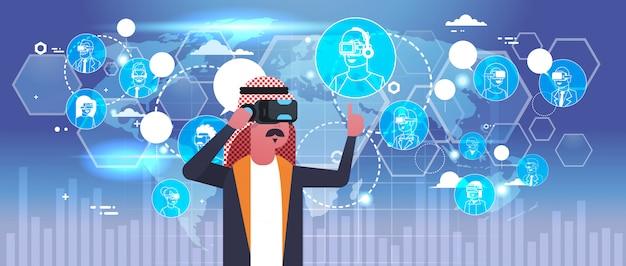 Uomo arabo di affari che indossa i vetri 3d Vettore Premium