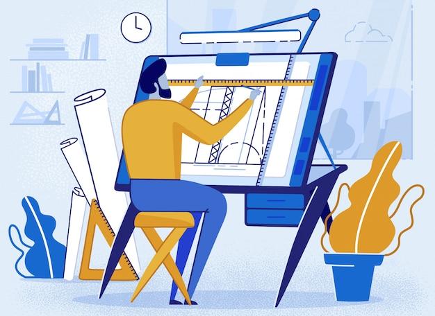 Uomo architetto creator drafting allo scrittorio per schizzo Vettore Premium