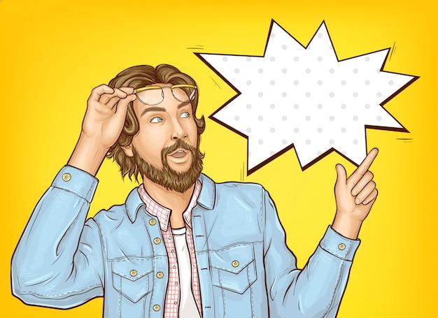Uomo barbuto hipster con espressione faccia wow. Vettore gratuito