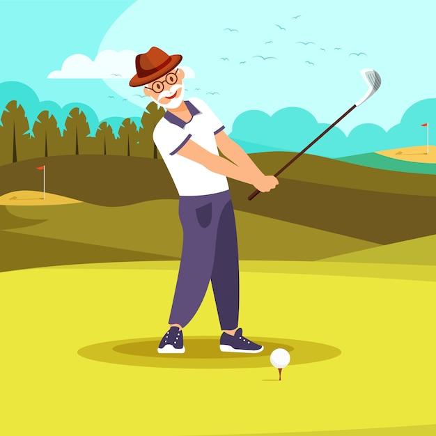 Uomo barbuto vigoroso anziano felice che gioca golf. Vettore Premium