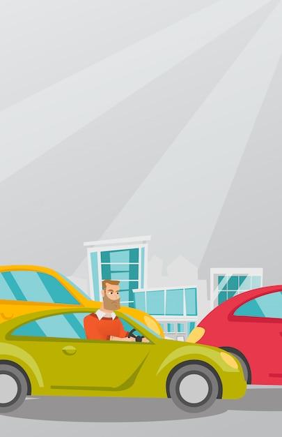 Uomo caucasico arrabbiato in auto bloccato nel traffico. Vettore Premium