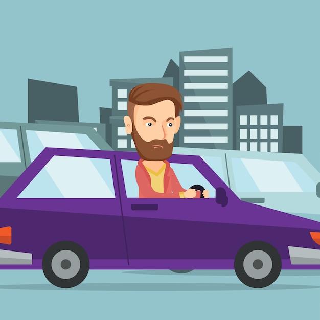 Uomo caucasico arrabbiato in automobile bloccata in ingorgo stradale. Vettore Premium