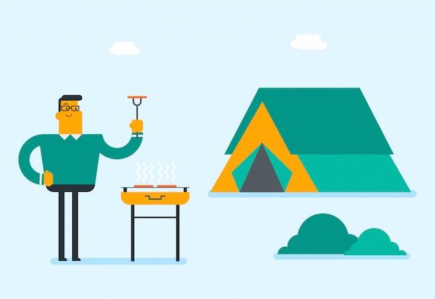 Uomo caucasico che cucina bistecca sul barbecue. Vettore Premium