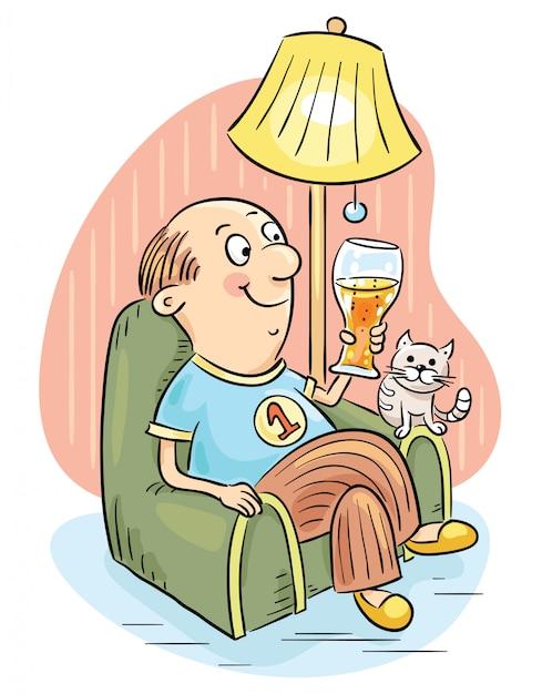 Uomo che beve birra in una poltrona Vettore Premium