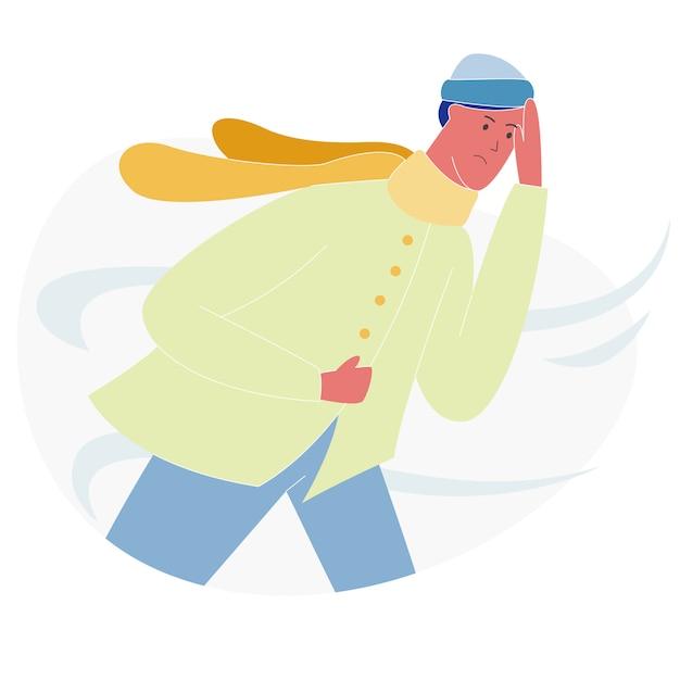Uomo che cammina contro vento forte, inverno, autunno Vettore Premium