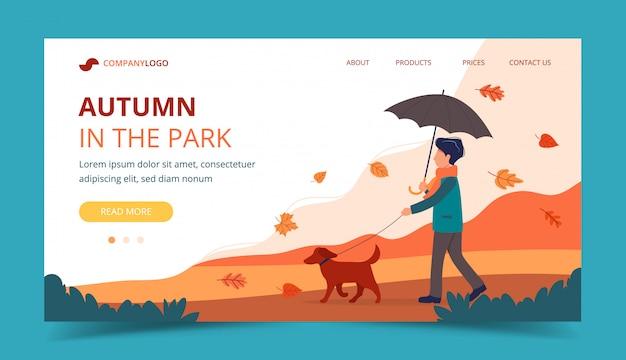 Uomo che cammina il cane in autunno. modello di pagina di destinazione. Vettore Premium