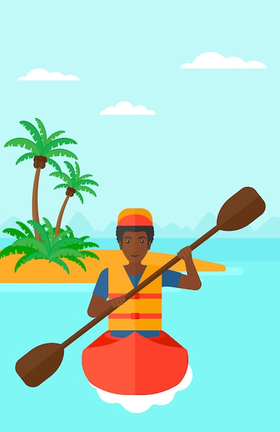 Uomo che cavalca in canoa Vettore Premium