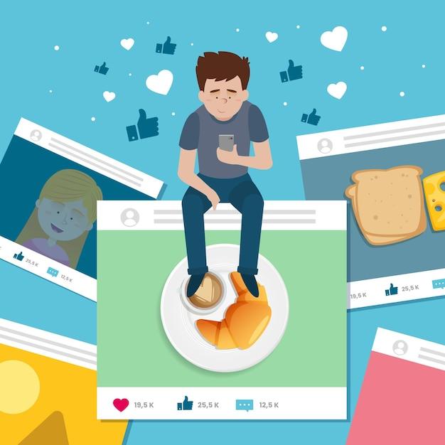 Uomo che condivide contenuti sui social media Vettore gratuito
